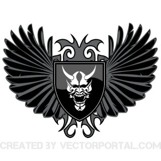 Wings and Skull Image Free Vector