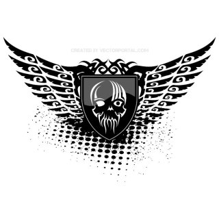 Wings Grunge Skull Free Vector