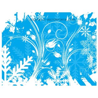 Winter Floral Swirls Stock Free Vector