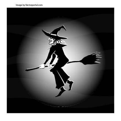 Witch Flying on Broom Free Vector