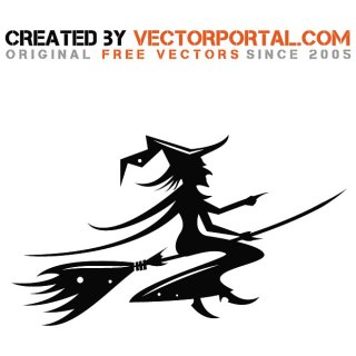 Witch Riding Broomstick Free Vector