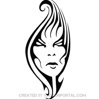Woman Face Tribal Free Vector