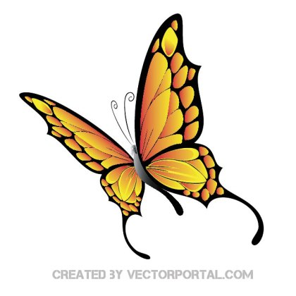 Yellow Butterfly Free Vector