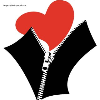 Zipped Heart Image Free Vector