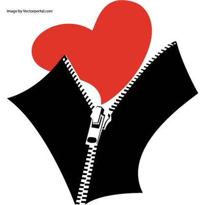 Zipped Heart Image Free Vector