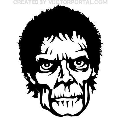 Zombie Face Free Vector