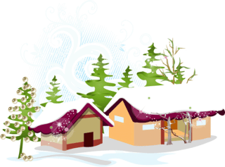 Christmas House with Snow and Tree Vector