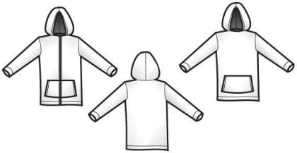 Hood template front and back