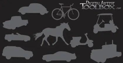 10 transportation silhouettes