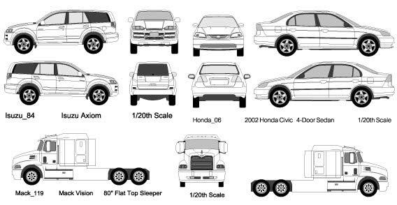 White cars and trucks vector
