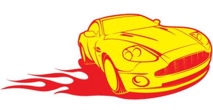 Yellow car in fire vector