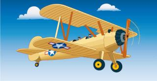 Vintage Aircraft Flight Vector Graphics