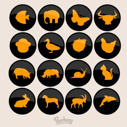 Animal Buttons Free Vector