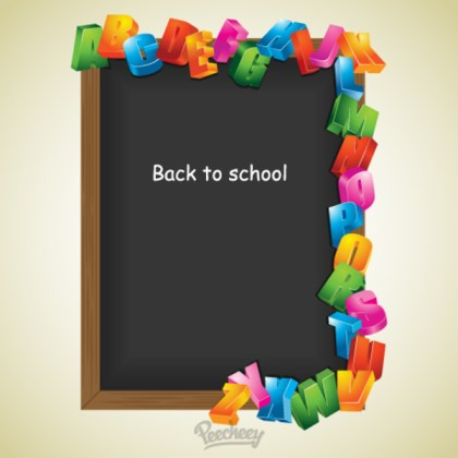 Back to School Black Board with Letters Free Vector