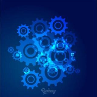 Blue Cogwheels Background Free Vector