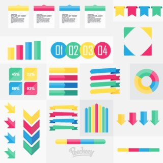 Collection of Infographics Elements Free Vector