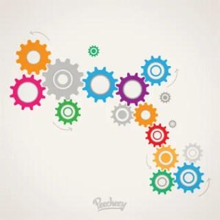 Colorful Cogwheels Free Vector