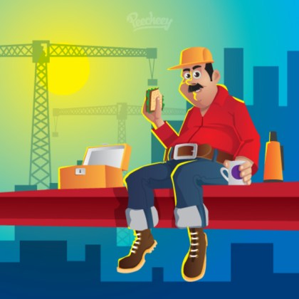 Construction Worker  Illustration Free Vector