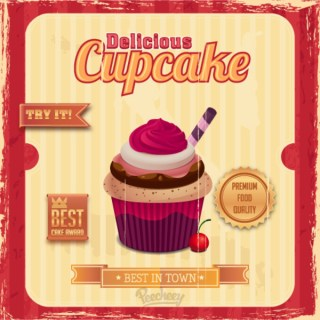 Cupcake Retro Poster Free Vector