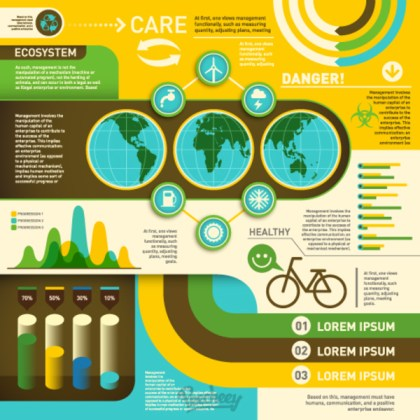 Ecology Retro Infographic Collection Free Vector