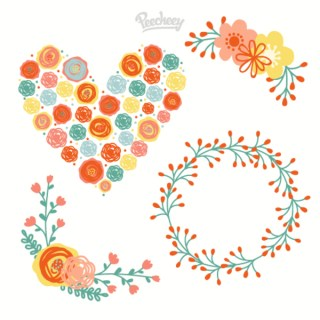 Floral Elements Illustration Free Vector