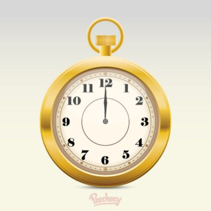 Golden Clock Free Vector