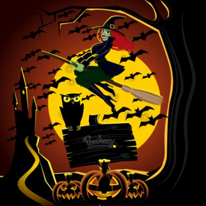 Halloween Witch Illustration Free Vector