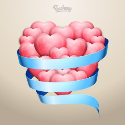 Hearts in Blue Ribbon Free Vector