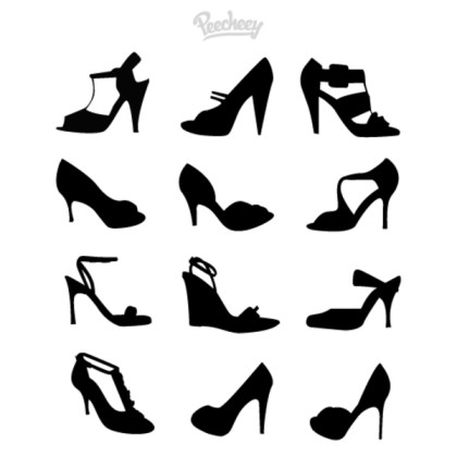 Heels Silhouettes Free Vector