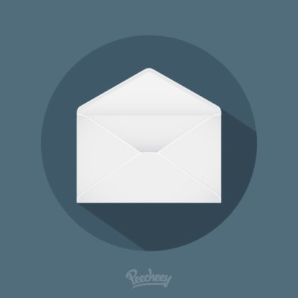 Mail Long Shadow Icon Free Vector