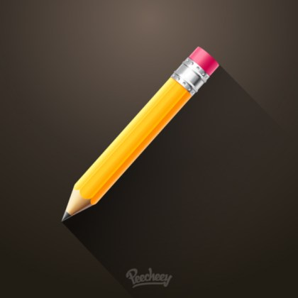 Pencil Long Shadow Free Vector