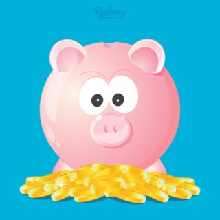 Piggy Bank with Coins Free Vector
