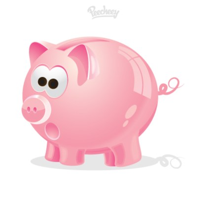 Pink Piggy Bank Icon Free Vector