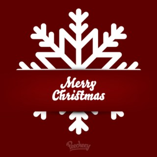 Snow Flake Greeting Card Red Free Vector