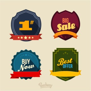 Sticker with Long Shadow Style Free Vector