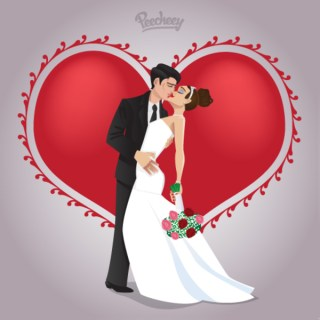 Wedding Couple in Love Free Vector