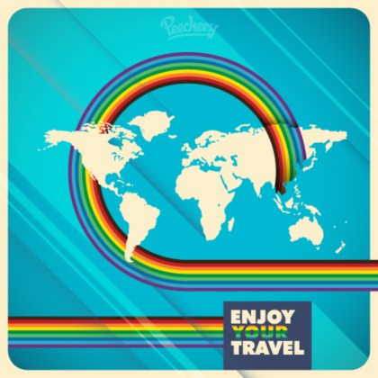World Map Travel Illustration Free Vector