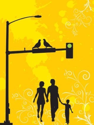 A family walk in the city Free Vector