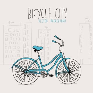 Bicycle City Free Vector