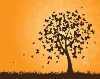 Butterflies Tree Free Vector