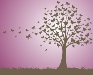 Butterfly tree Free Vector