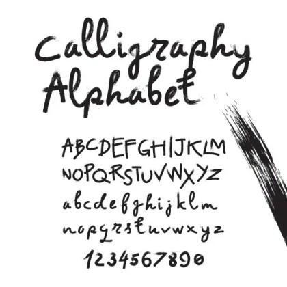 Calligraphy Alphabet Free Vector