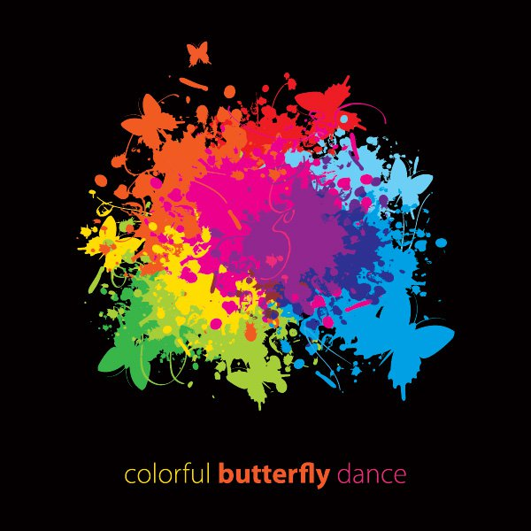 Colorful Butterfly Dance Free Vector