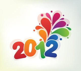 Colorful New 2012 Free Vector