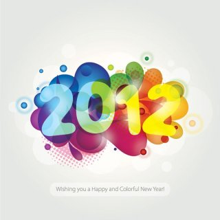Colorful New Year 2012 Free Vector