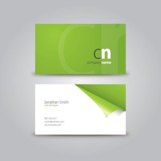 Curled Corner Business Card Free Vector