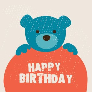 Cute Birthday Card Free Vector
