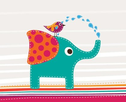Cute Elephant And Bird Free Vector
