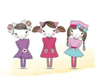 Cute Girls Illustration Free Vector