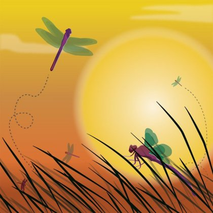 Dragonfly Sunset Background Free Vector